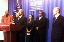 ICNA President Naeem Baig speaks at joint press conference